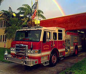 fire truck with rainbow